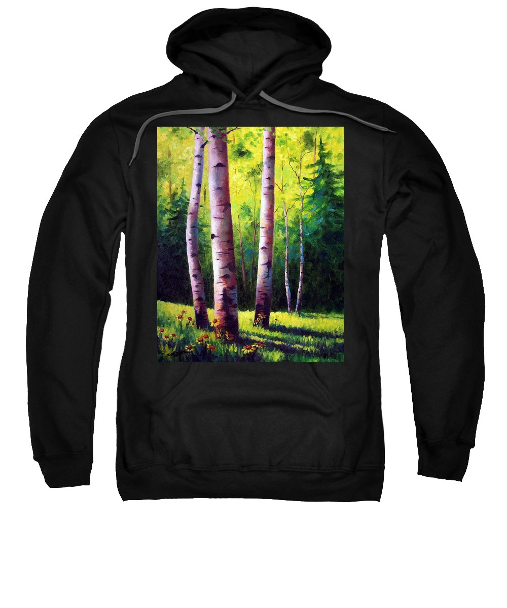 Aspen Sweatshirt featuring the painting The Light Of Spring by David G Paul