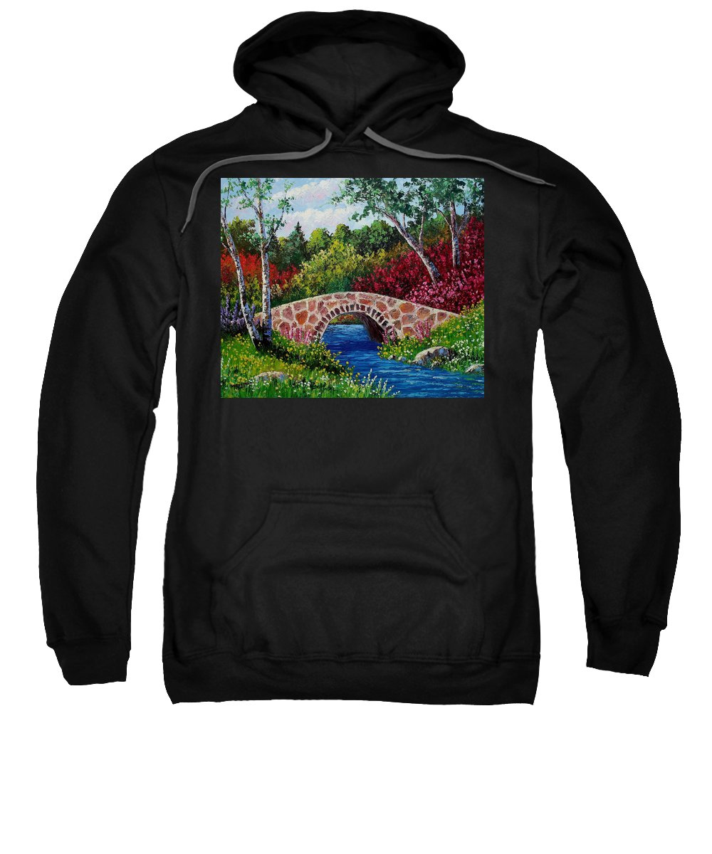 Landscape Sweatshirt featuring the painting The Little Stone Bridge by David G Paul