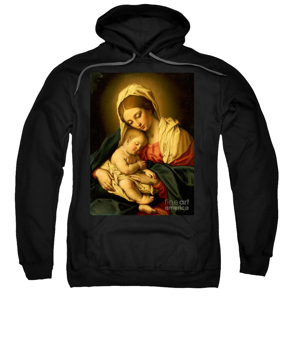 Mary Sweatshirt featuring the painting The Madonna And Child by Il Sassoferrato