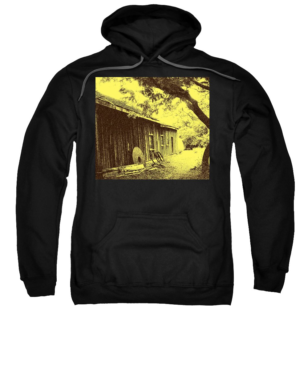Black Creek Sweatshirt featuring the photograph The Millwrights Shed by Ian MacDonald
