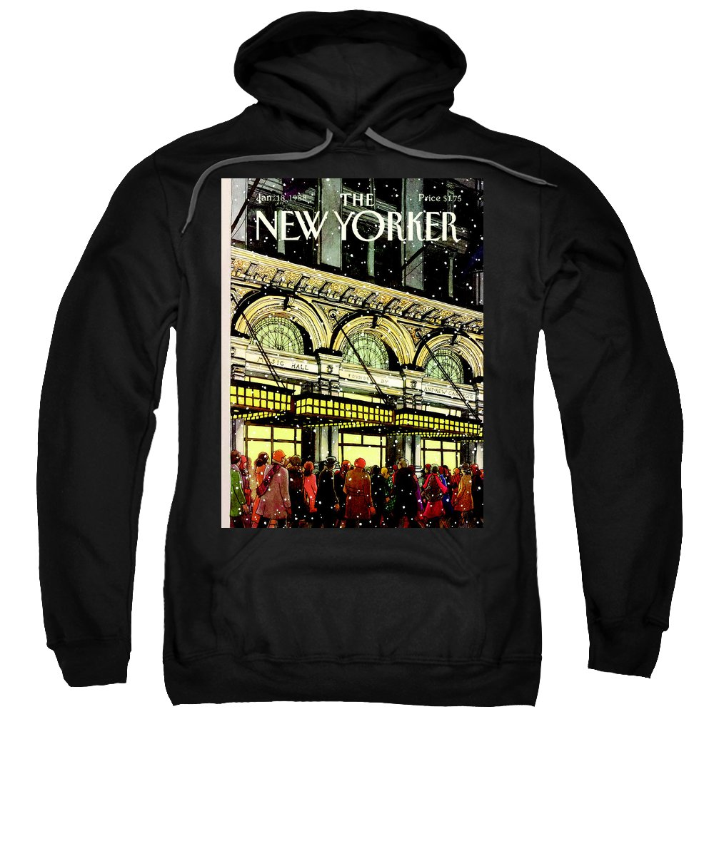 Urban Sweatshirt featuring the painting The New Yorker Cover - January 18th, 1988 by Roxie Munro