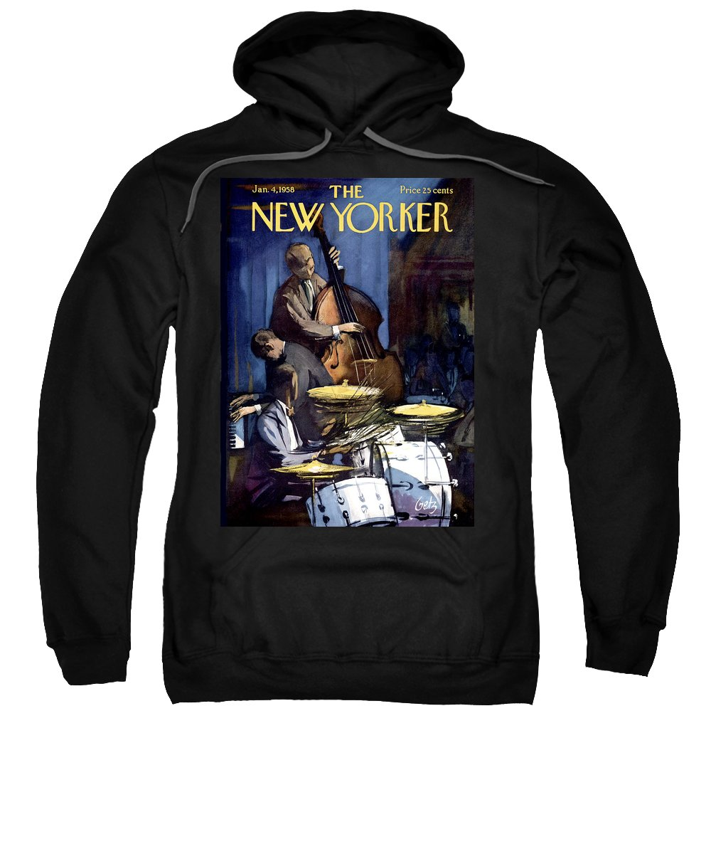Concert Sweatshirt featuring the photograph The New Yorker Cover - January 4th, 1958 by Arthur Getz