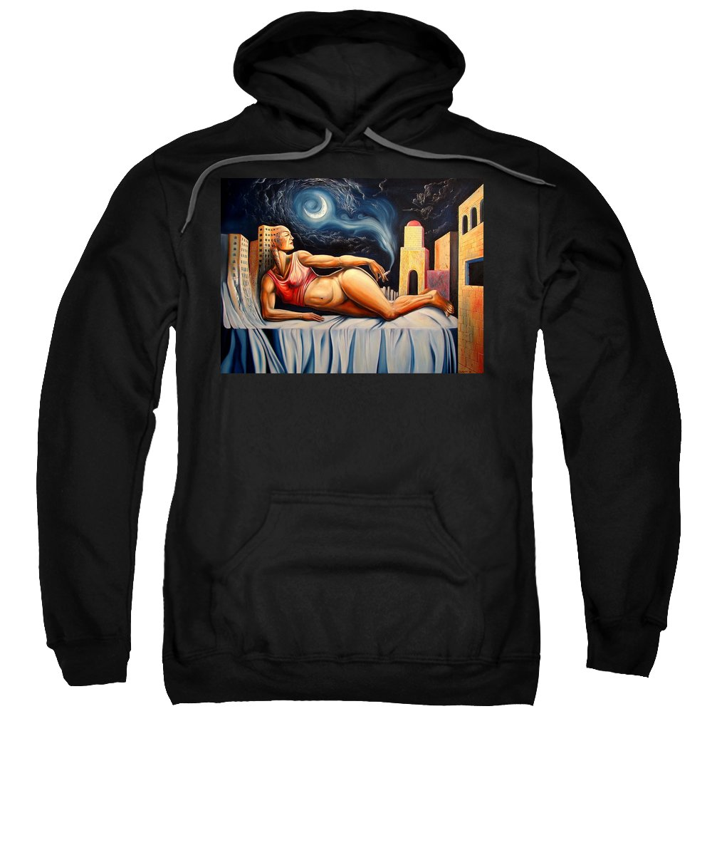 Surrealism Sweatshirt featuring the painting The Night Muse by Darwin Leon