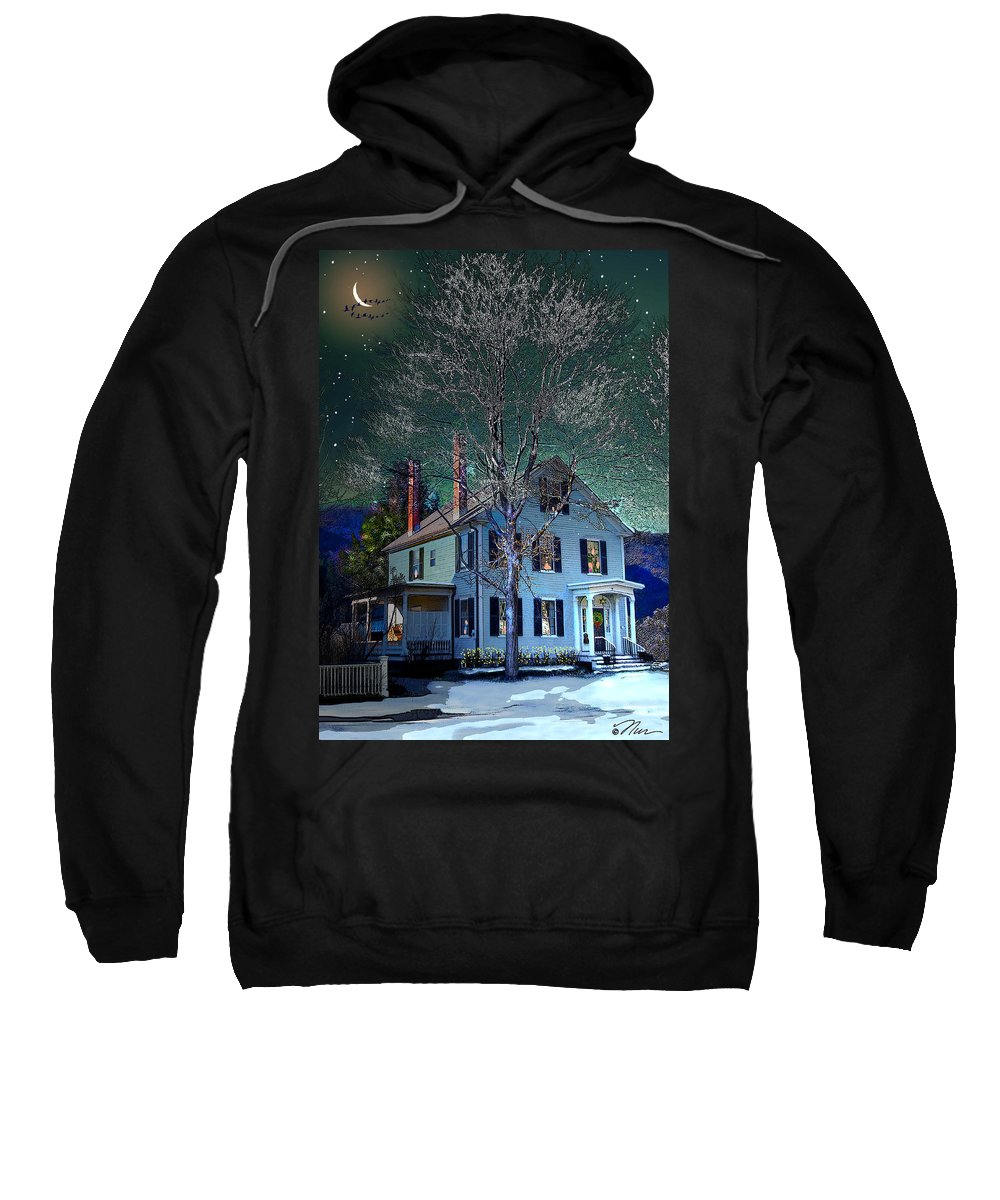 Vermont Sweatshirt featuring the digital art The Noble House by Nancy Griswold