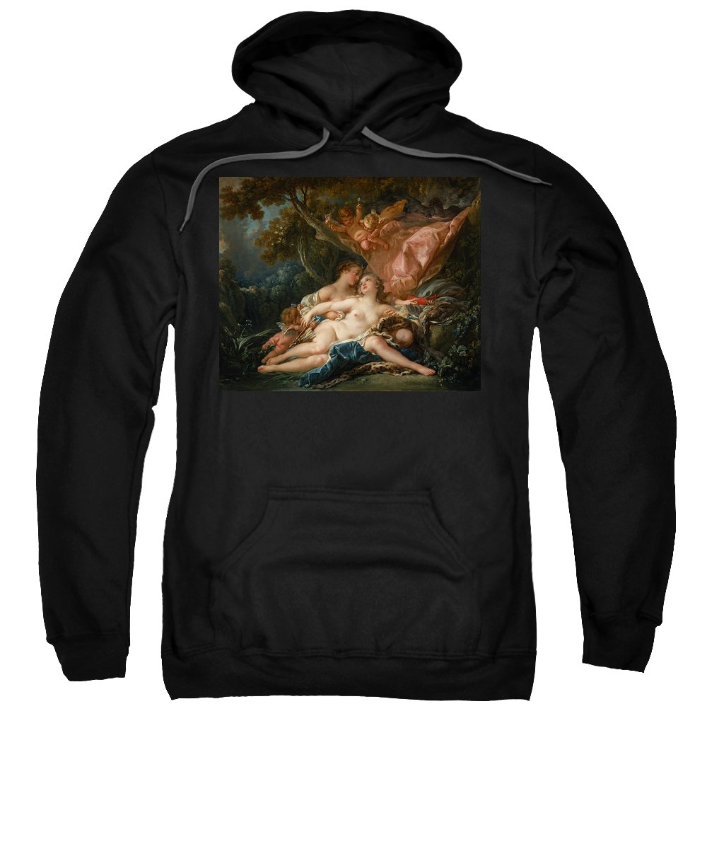 Francois Sweatshirt featuring the painting The Nymph Callisto Seduced By Jupiter by Francois Boucher