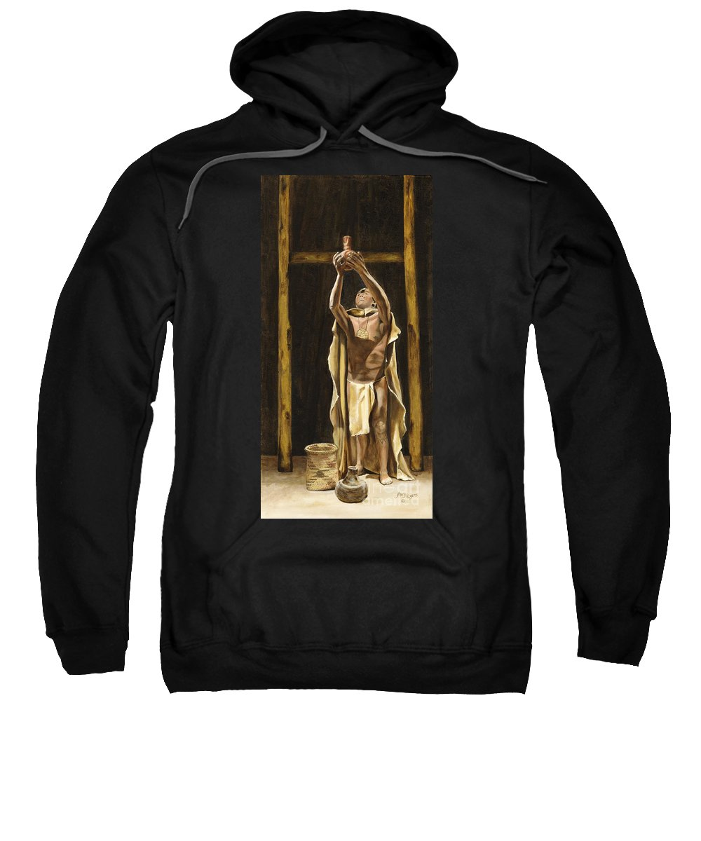 Sepia Sweatshirt featuring the painting The Offering by Mary Rogers