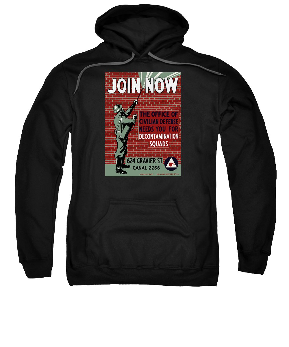 Wpa Sweatshirt featuring the painting The Office Of Civilian Defense Needs You - Wpa by War Is Hell Store