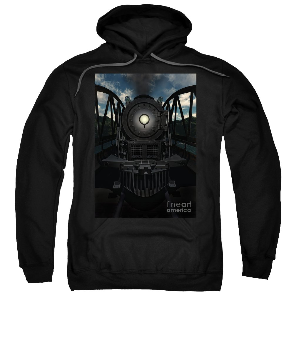 Trains Sweatshirt featuring the digital art The Old Iron Bridge by Richard Rizzo