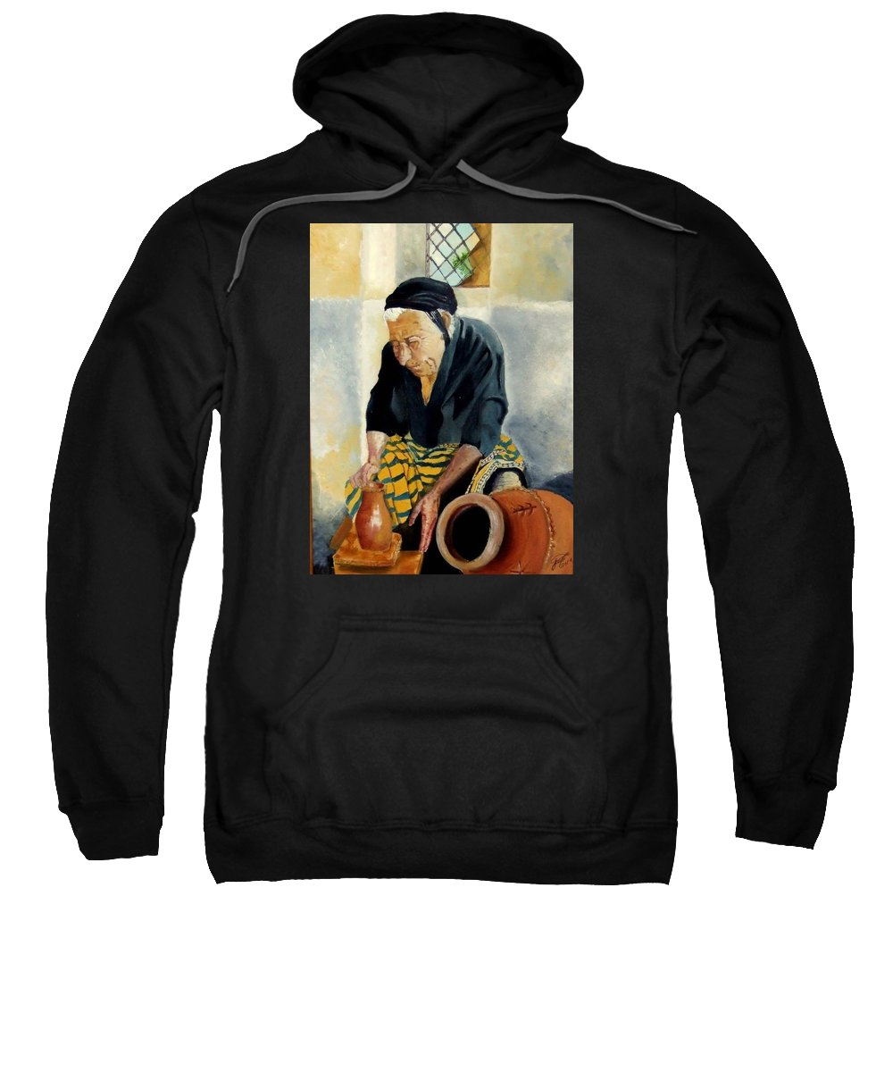 Old People Sweatshirt featuring the painting The Old Potter by Jane Simpson