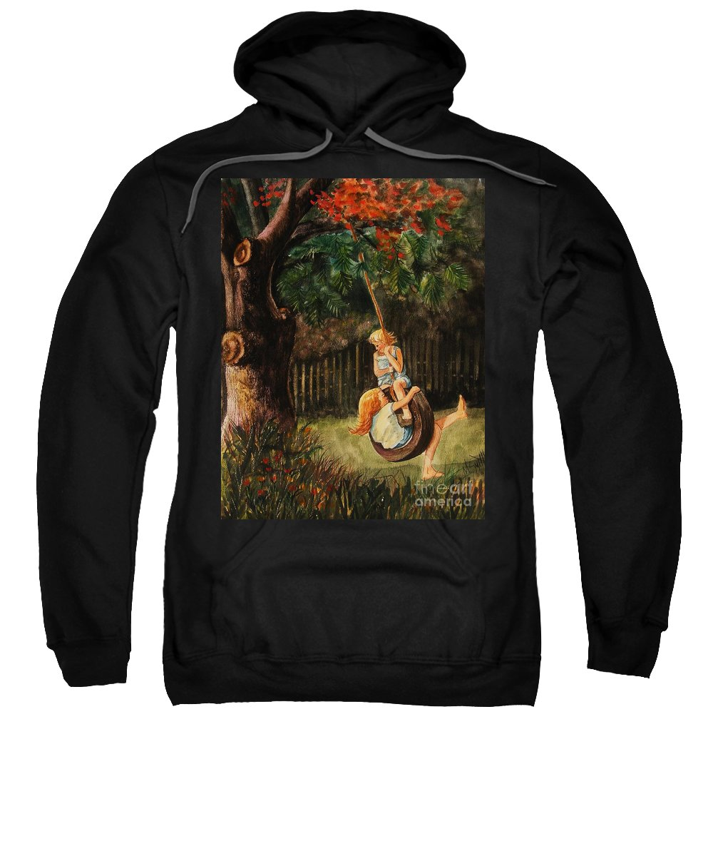 Girls Swinging Sweatshirt featuring the painting The Old Tire Swing by Marilyn Smith