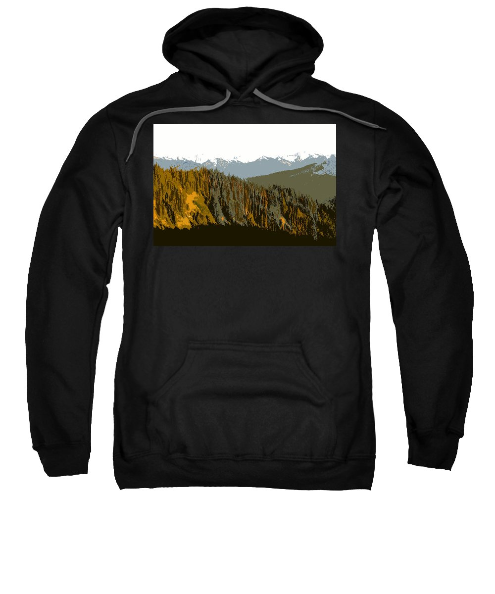 Olympic Mountains Sweatshirt featuring the painting The Olympic Mountains by David Lee Thompson