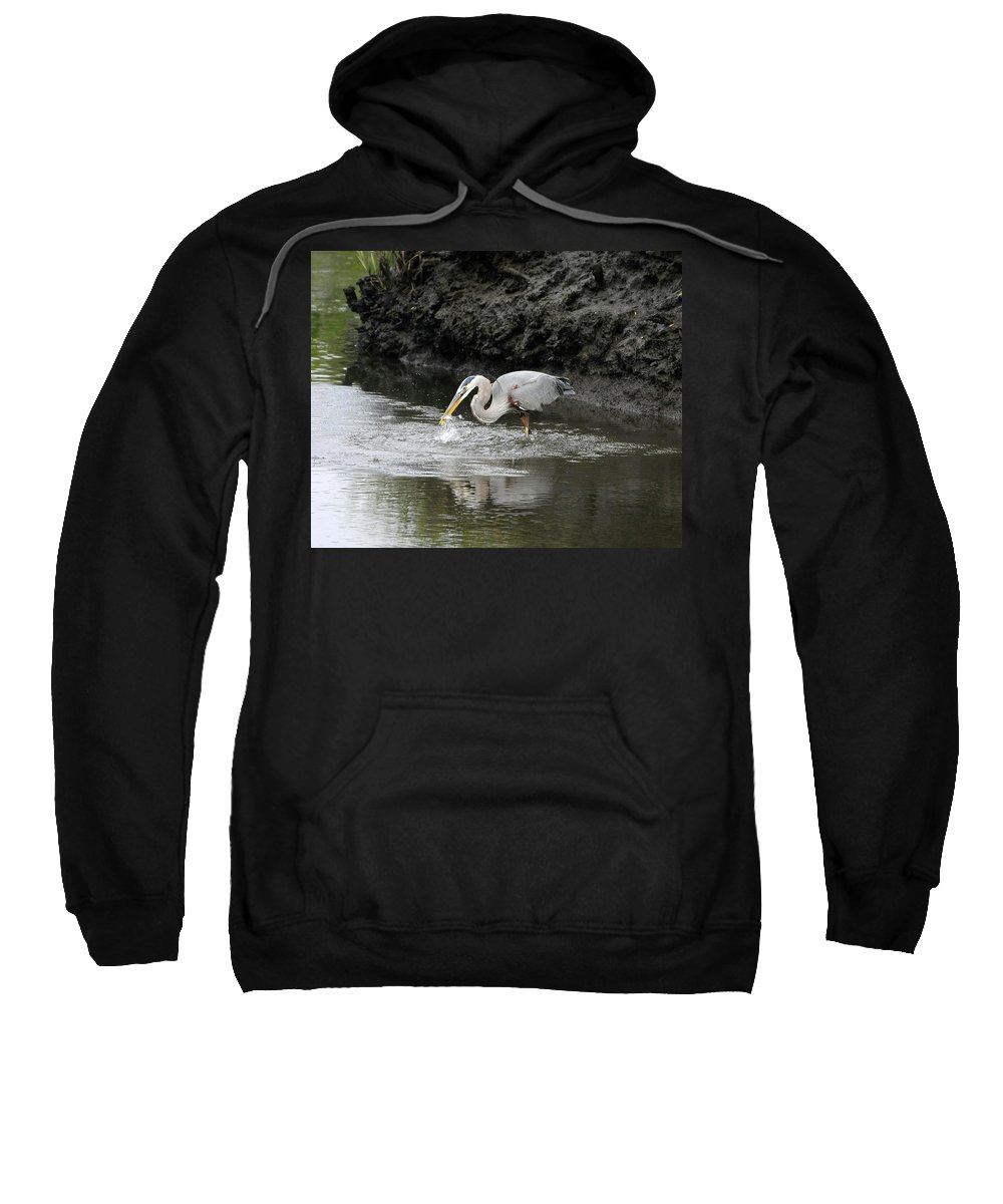 Great Blue Heron Sweatshirt featuring the photograph The One That Got Away by Al Powell Photography USA