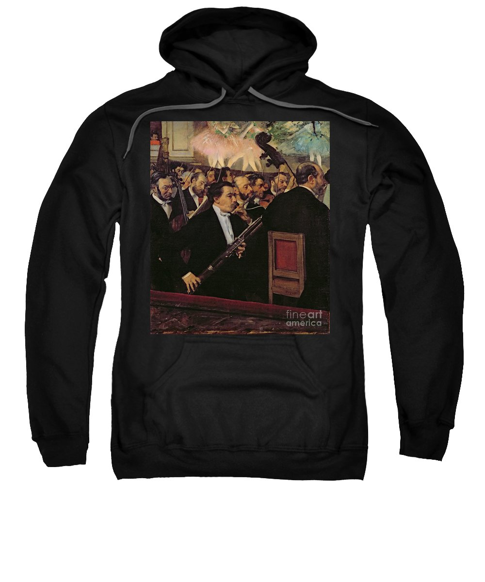 The Opera Orchestra Sweatshirt featuring the painting The Opera Orchestra by Edgar Degas