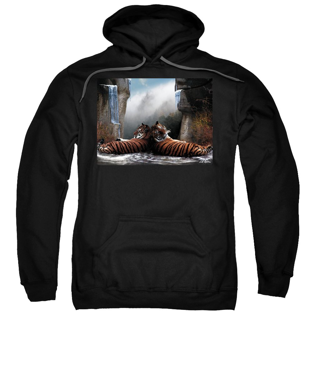 Tigers Sweatshirt featuring the digital art The Pass by Bill Stephens