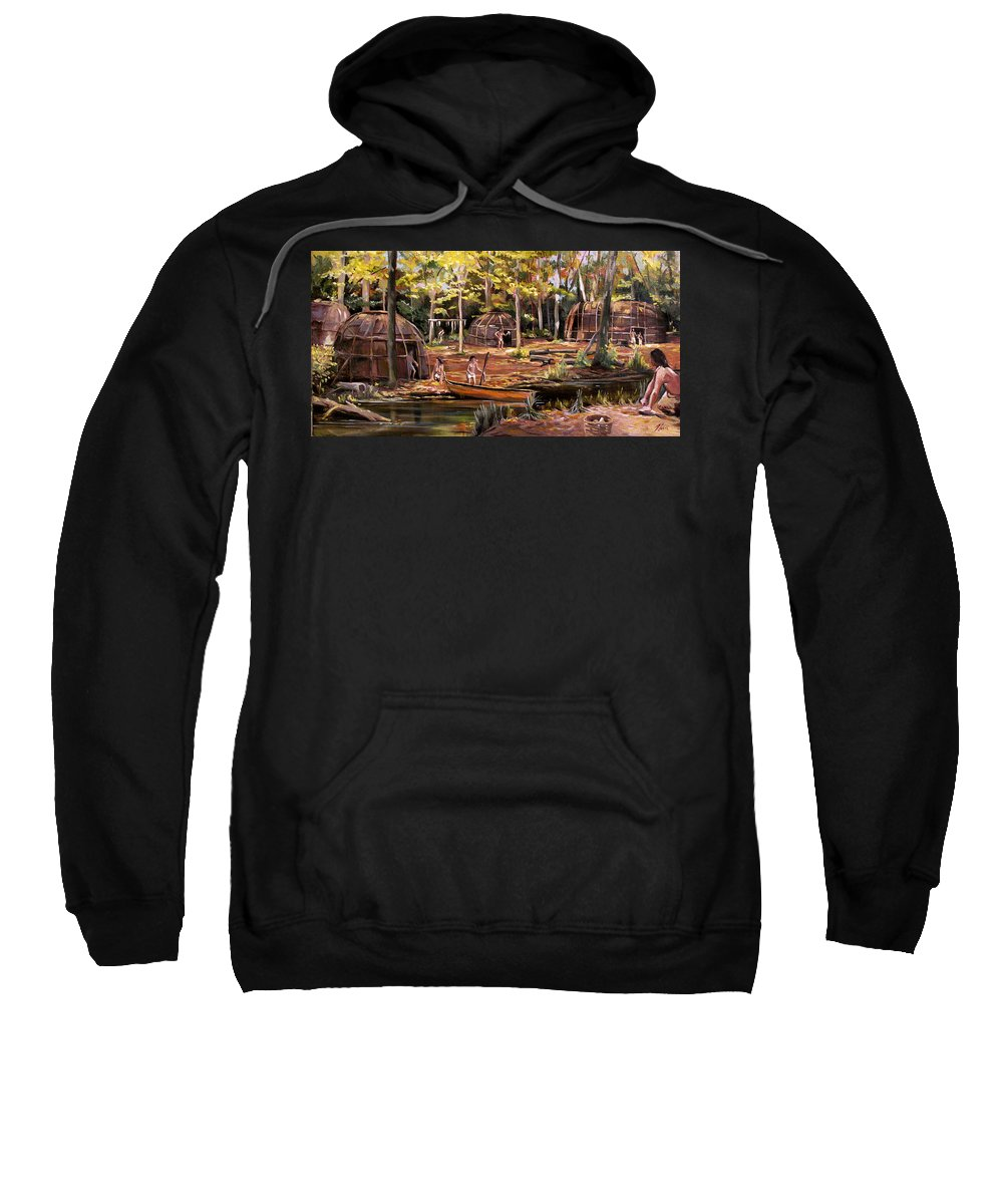 Institute Of American Indian Sweatshirt featuring the painting The Pequots by Nancy Griswold