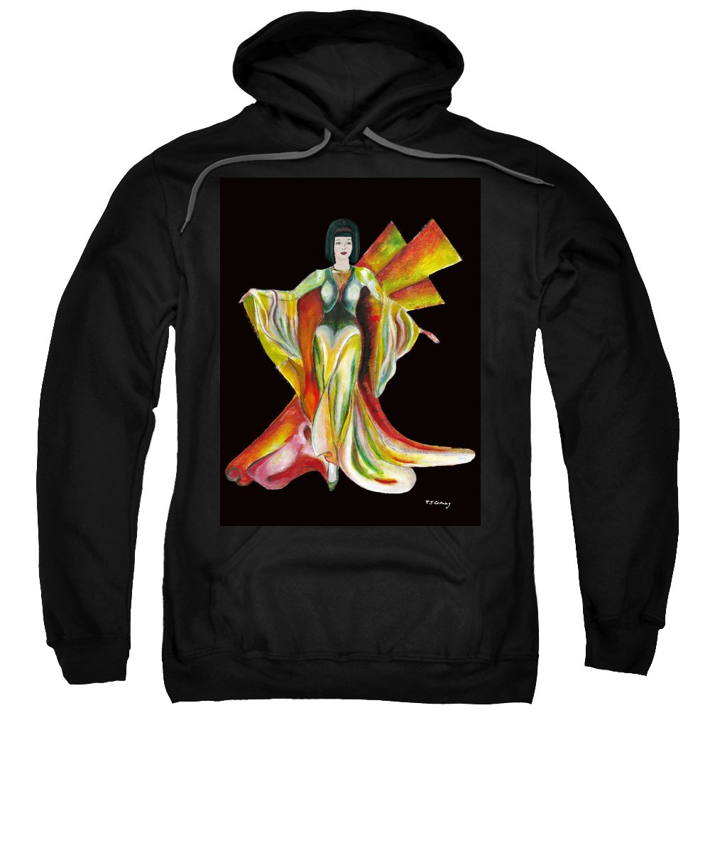 Dresses Sweatshirt featuring the painting The Phoenix 2 by Tom Conway