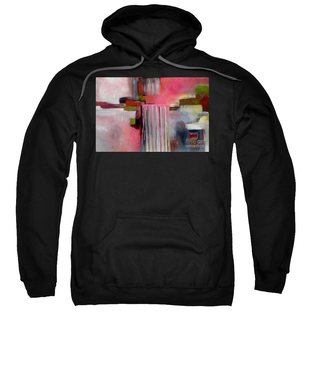 Abstract Modern Contemporary Pink Acrylic Colourful Hildur Hauks Sweatshirt featuring the painting The Pink Piece Of Purity by Hildur Hauksdottir
