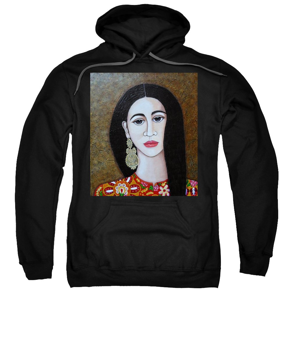 Woman Sweatshirt featuring the painting The Portuguese Earring 2 by Madalena Lobao-Tello