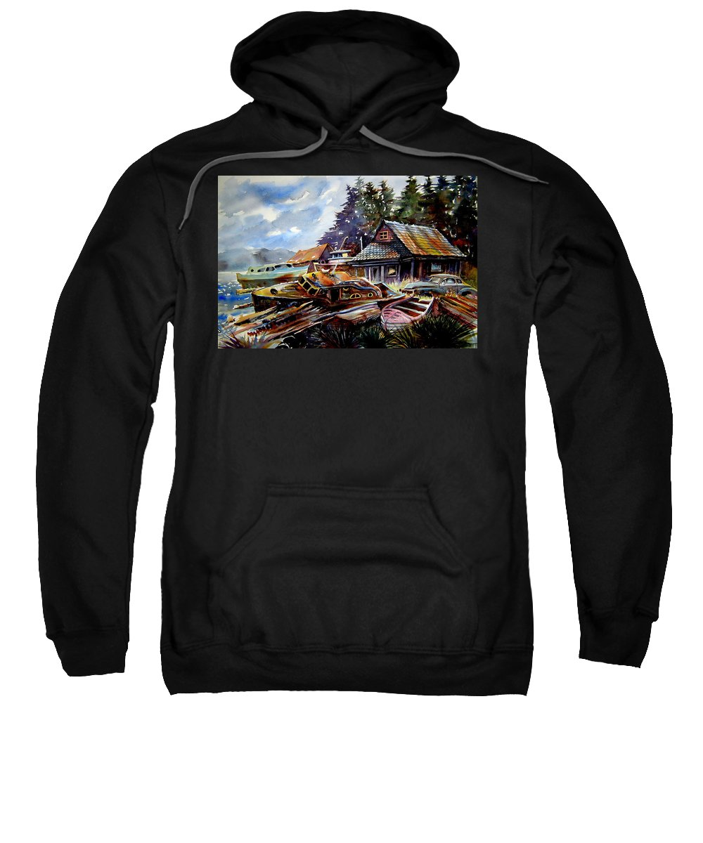 Boats Sweatshirt featuring the painting The Preserve Of Captain Flood by Ron Morrison
