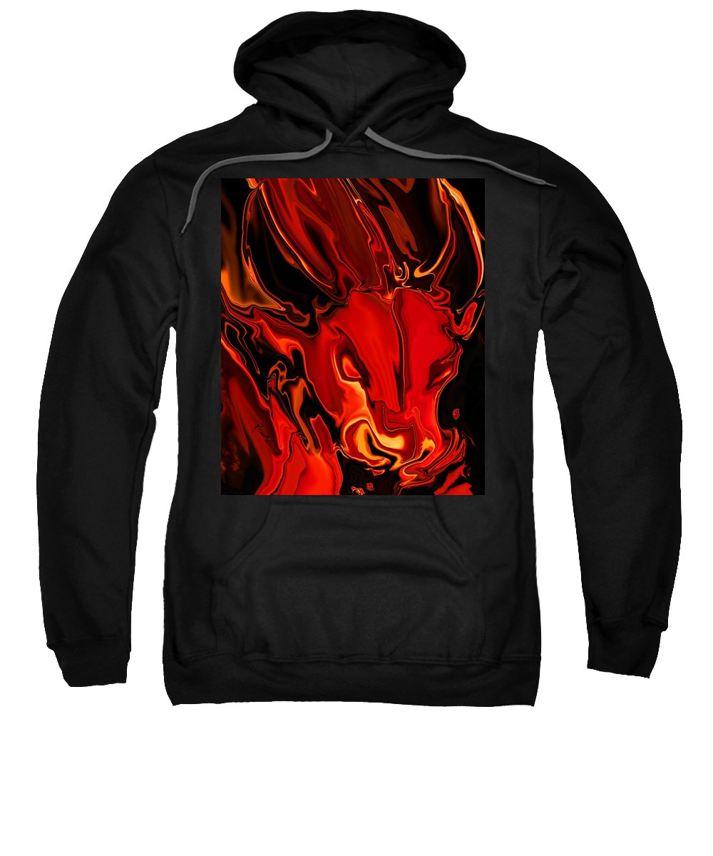 Animals Sweatshirt featuring the digital art The Red Bull by Rabi Khan