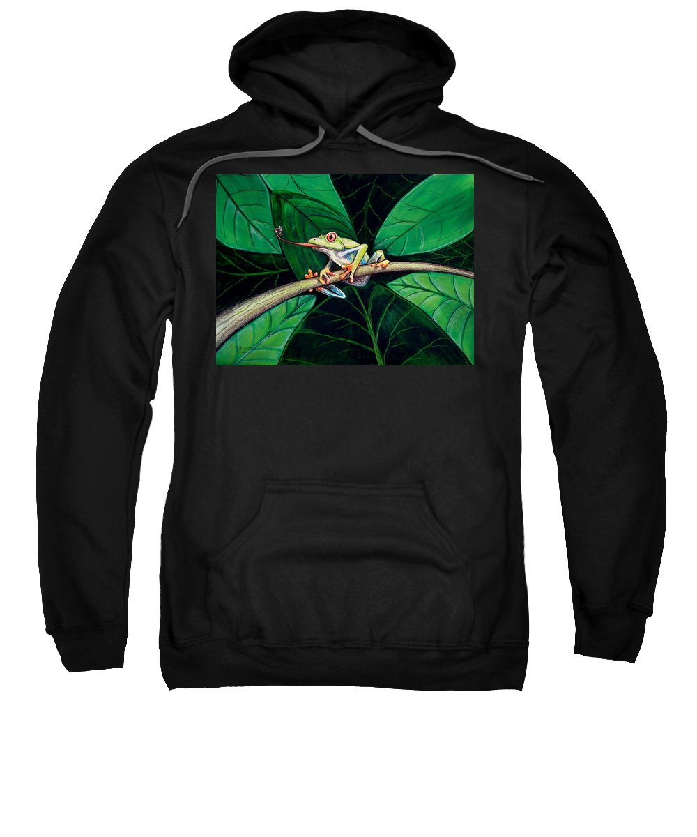 Frog Sweatshirt featuring the painting The Red Eyed Tree Frog by Elizabeth Robinette Tyndall