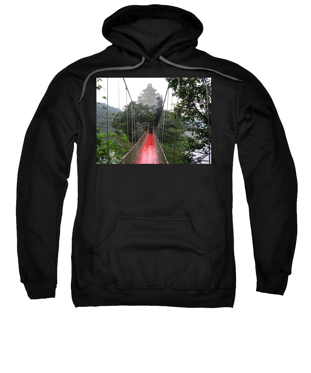 Temple Bridge Water Mountain Taiwan Love Couples Scenery Sweatshirt featuring the photograph The Red Way In by Andrea Lawrence