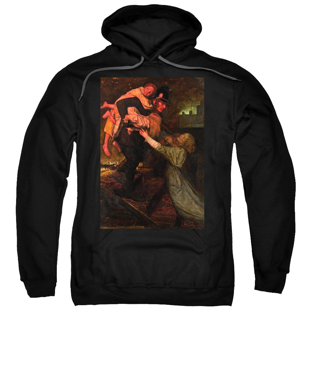 19th Century English Painters Sweatshirt featuring the painting The Rescue by John Everett Millais