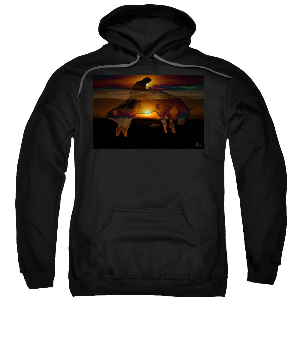 Cowboy Horse Bronc Rider Rodeo Sunrise Skyline Skyscape Sun Clouds Rider Sweatshirt featuring the photograph The Ripple Effect by Andrea Lawrence