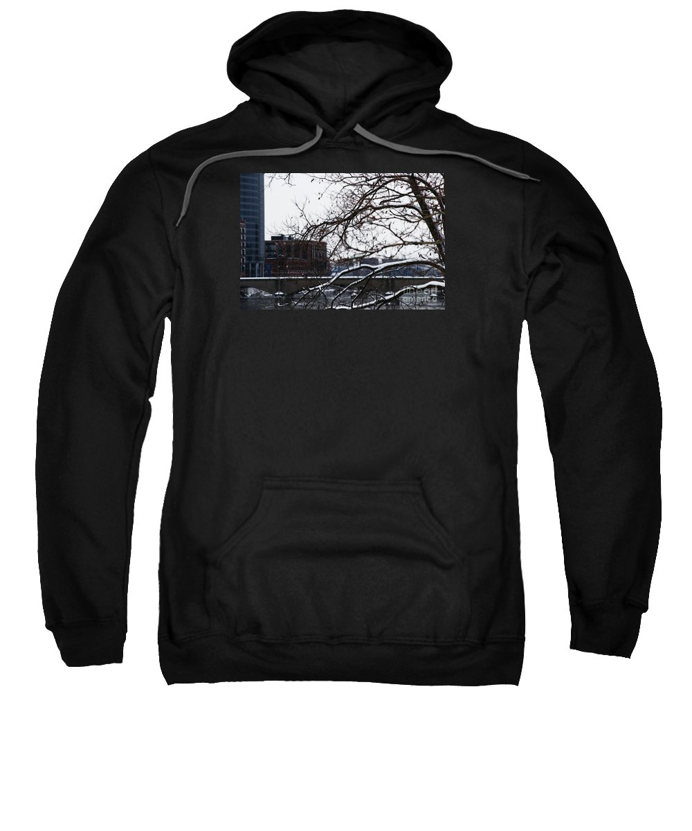 Winter Sweatshirt featuring the photograph The River Divide by Linda Shafer