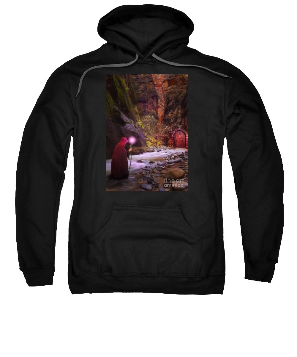 Enchantment Sweatshirt featuring the digital art The Road Less Traveled by John Edwards