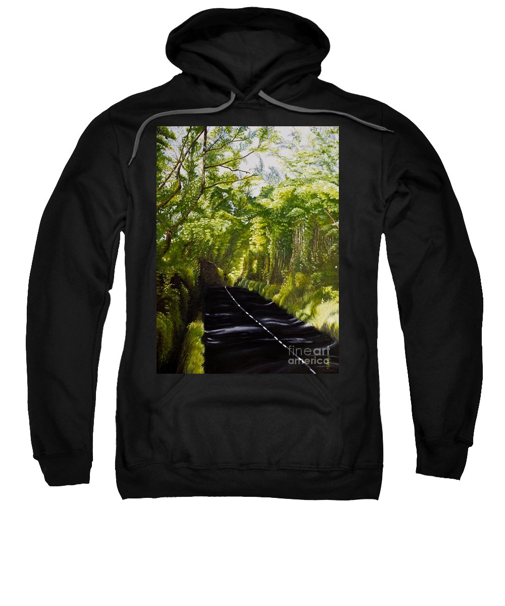 Landscape Sweatshirt featuring the painting The Road Through Glenastar by Pauline Sharp