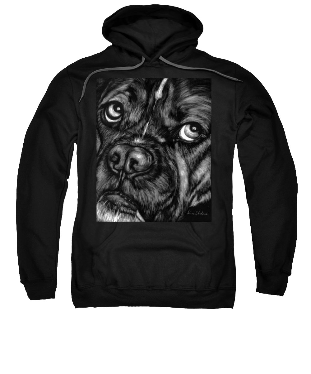 Animals Sweatshirt featuring the painting The Sad Boxer by Portraits By NC