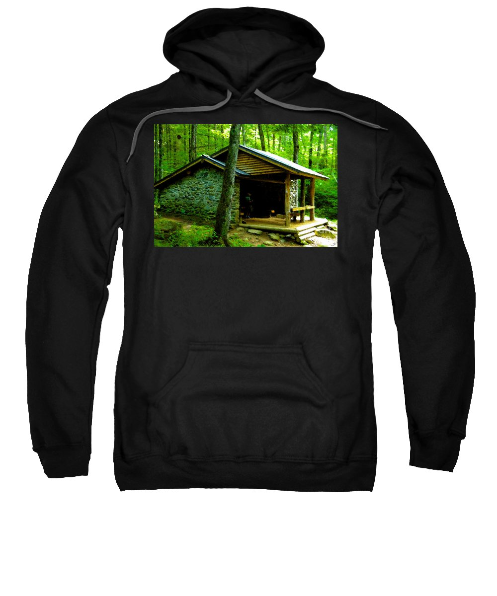 Appalachian Trail Shelter Sweatshirt featuring the painting The Shelter by David Lee Thompson