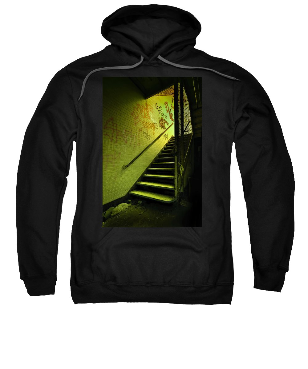 Stair Sweatshirt featuring the photograph The Shining Darkness by Evelina Kremsdorf