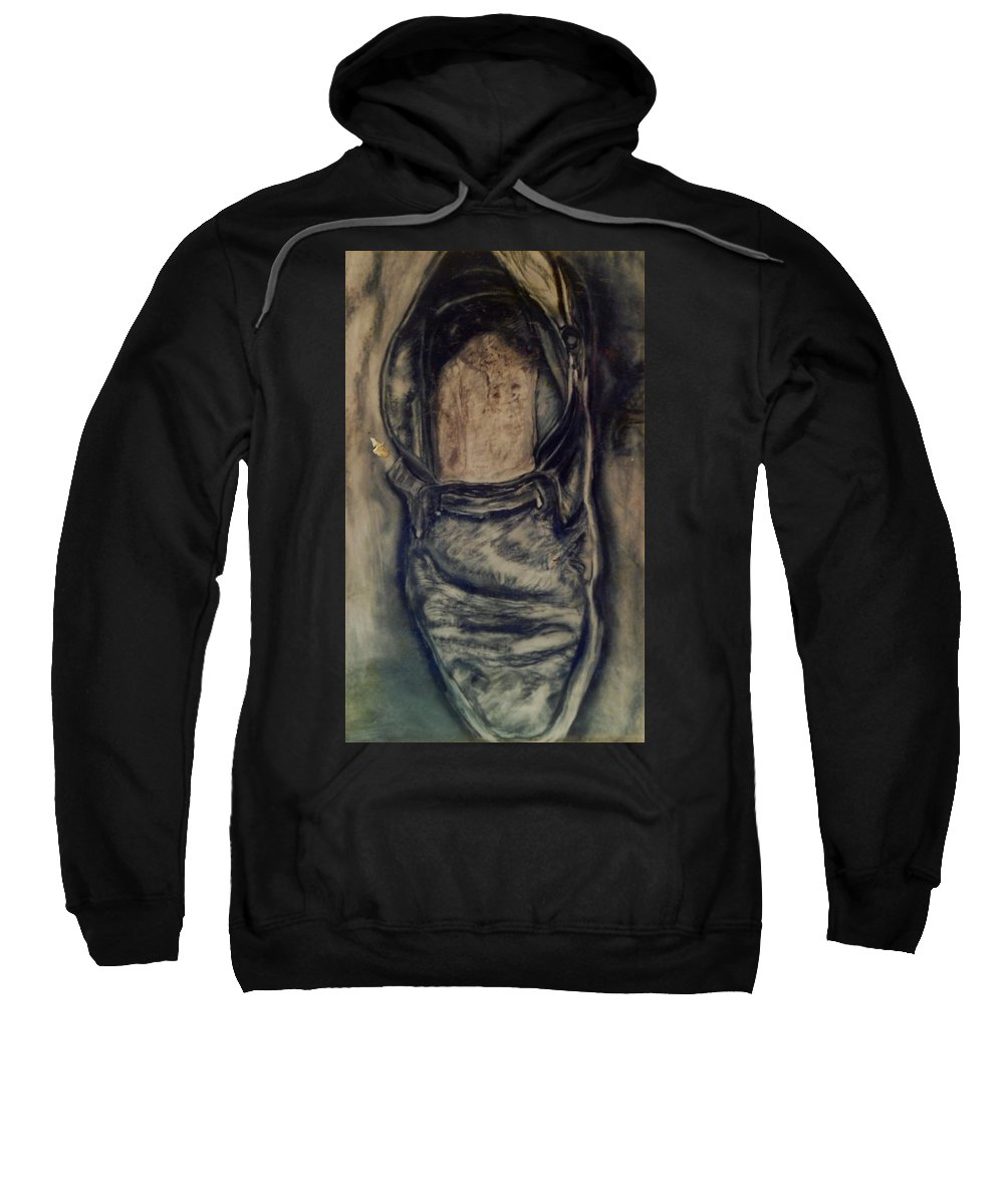 Visual Music Drawing; Graphite; Still Life; Sweatshirt featuring the drawing The Shoe by Arlene Rabinowitz
