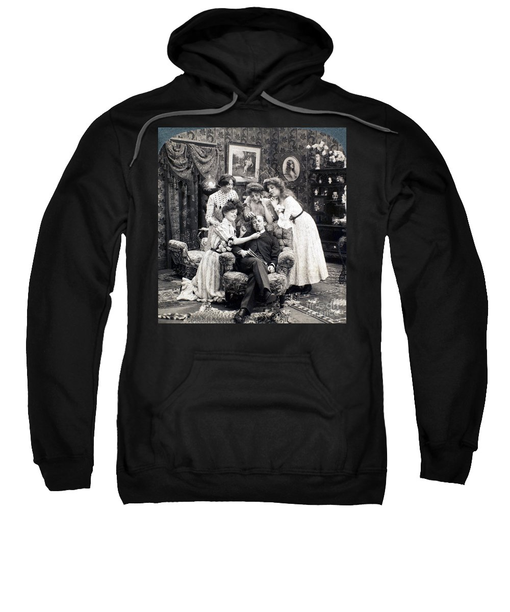 1902 Sweatshirt featuring the photograph The Sleepy Lover, 1902 by Granger