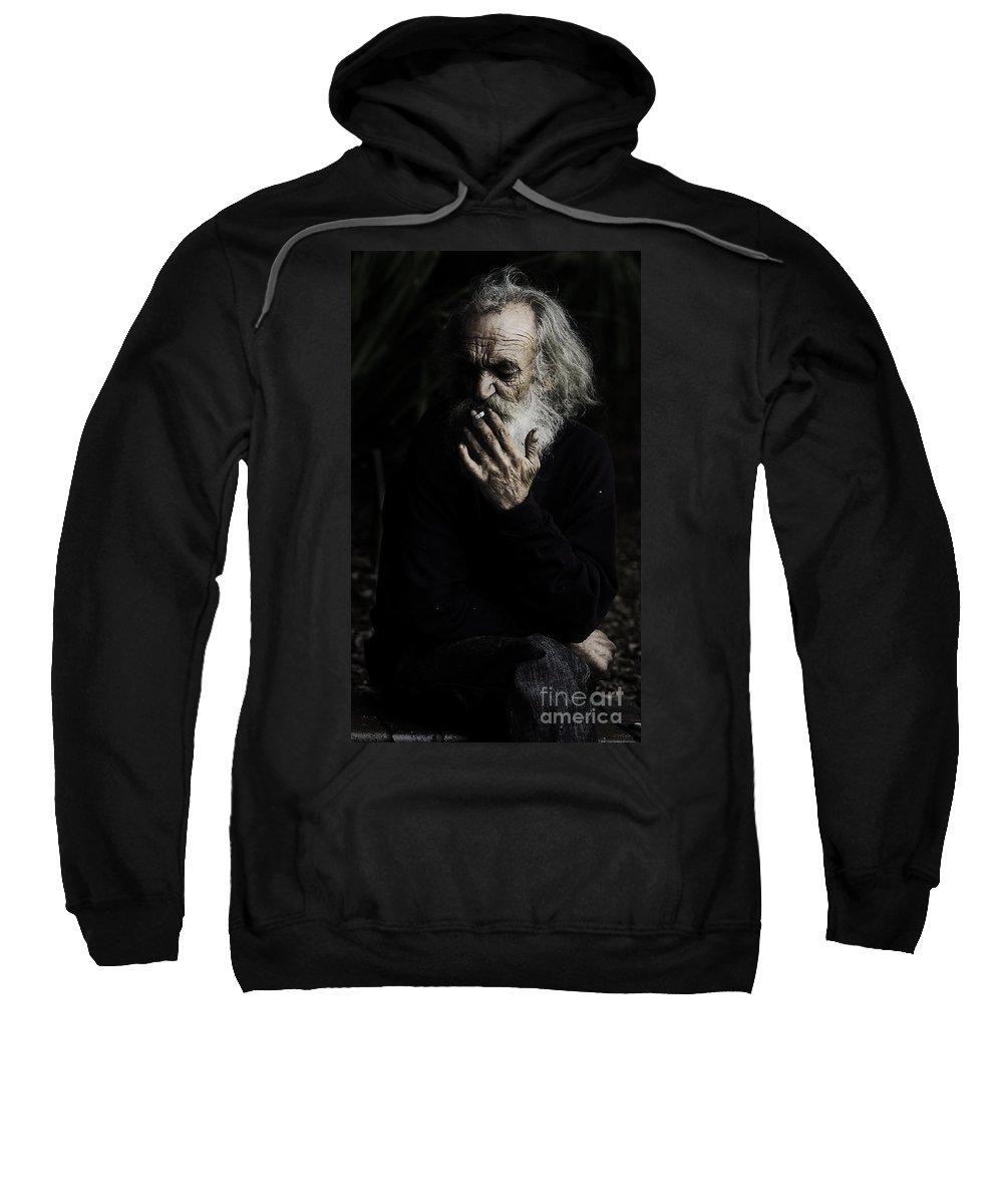Homeless Male Smoking Smoker Aged Sweatshirt featuring the photograph The Smoker by Sheila Smart Fine Art Photography