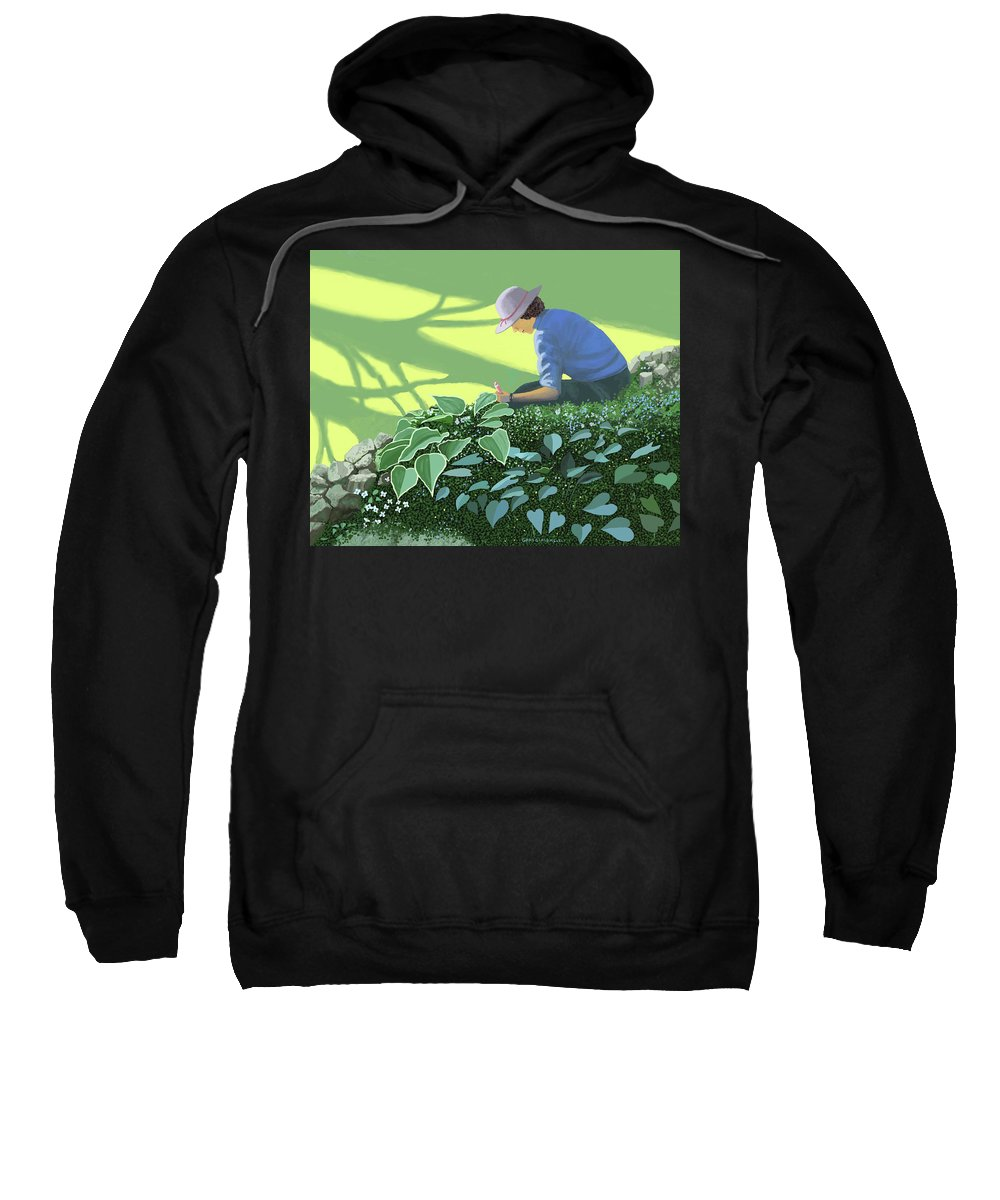 Garden Gardening Shade Sun Sunlight Tree Trees Planting Bulbs Seeds Growing Growth Cultivation Cultivate Spring Springtime Sunshine Sun Gardener Sweatshirt featuring the painting The solace of the shade garden by Gary Giacomelli