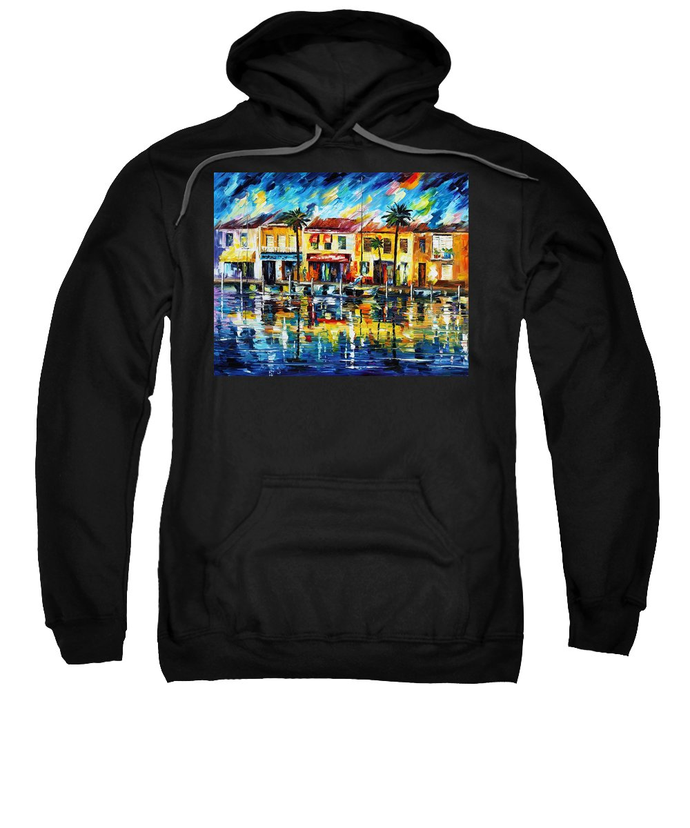 Afremov Sweatshirt featuring the painting The Spirit Of Miami by Leonid Afremov