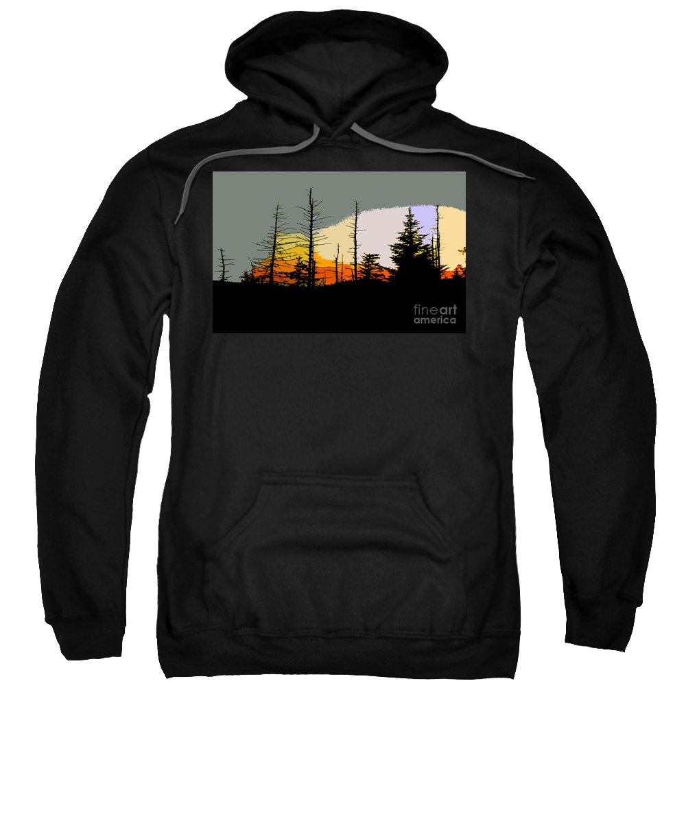 Forest Sweatshirt featuring the painting The Stained Glass Forest by David Lee Thompson