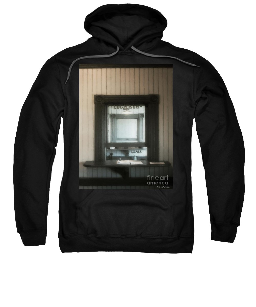 Window Sweatshirt featuring the painting The Stationmaster's Window by RC DeWinter