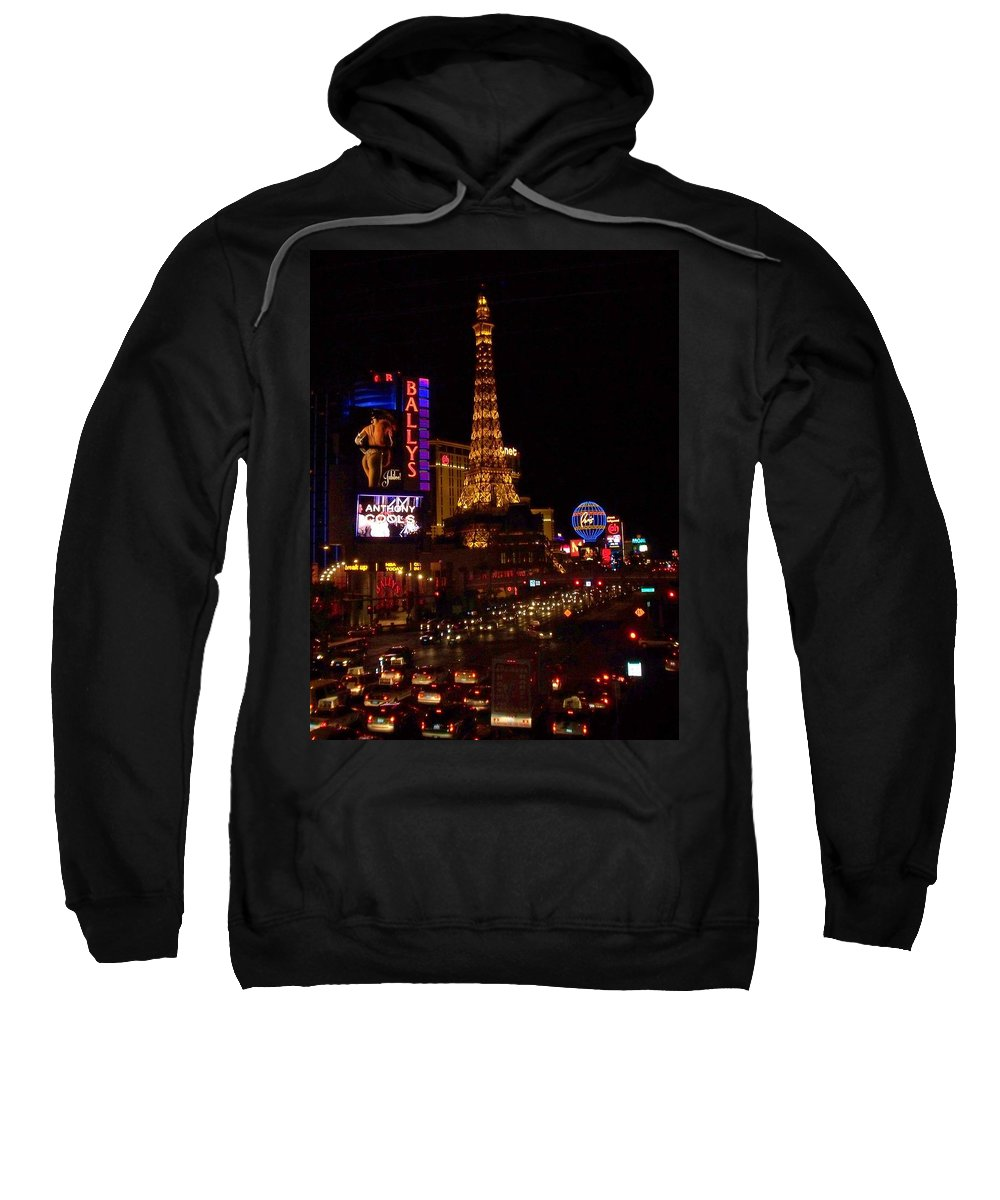 Vegas Sweatshirt featuring the photograph The Strip At Night 2 by Anita Burgermeister