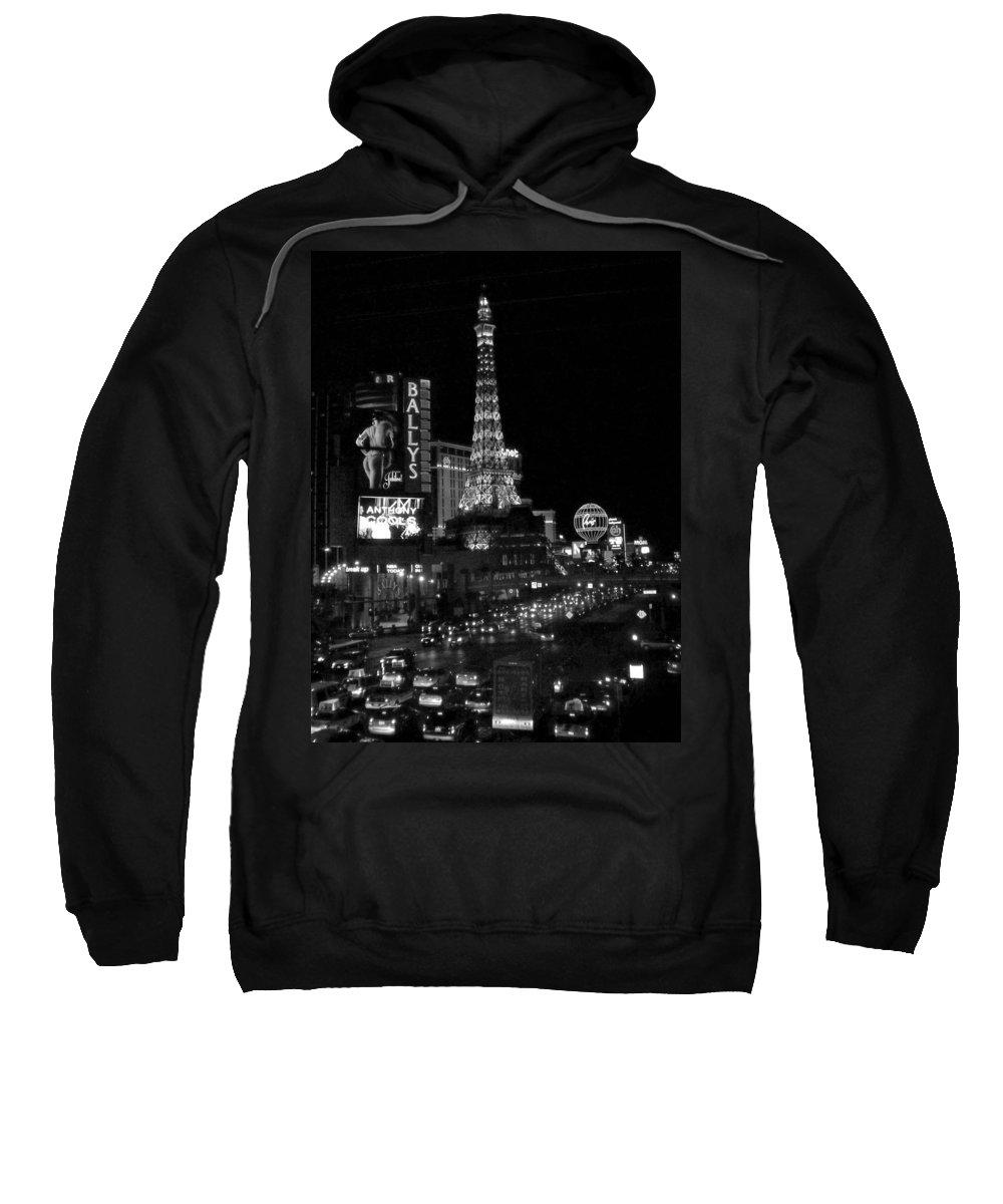 Las Vegas Strip Sweatshirt featuring the photograph The Strip By Night B-w by Anita Burgermeister