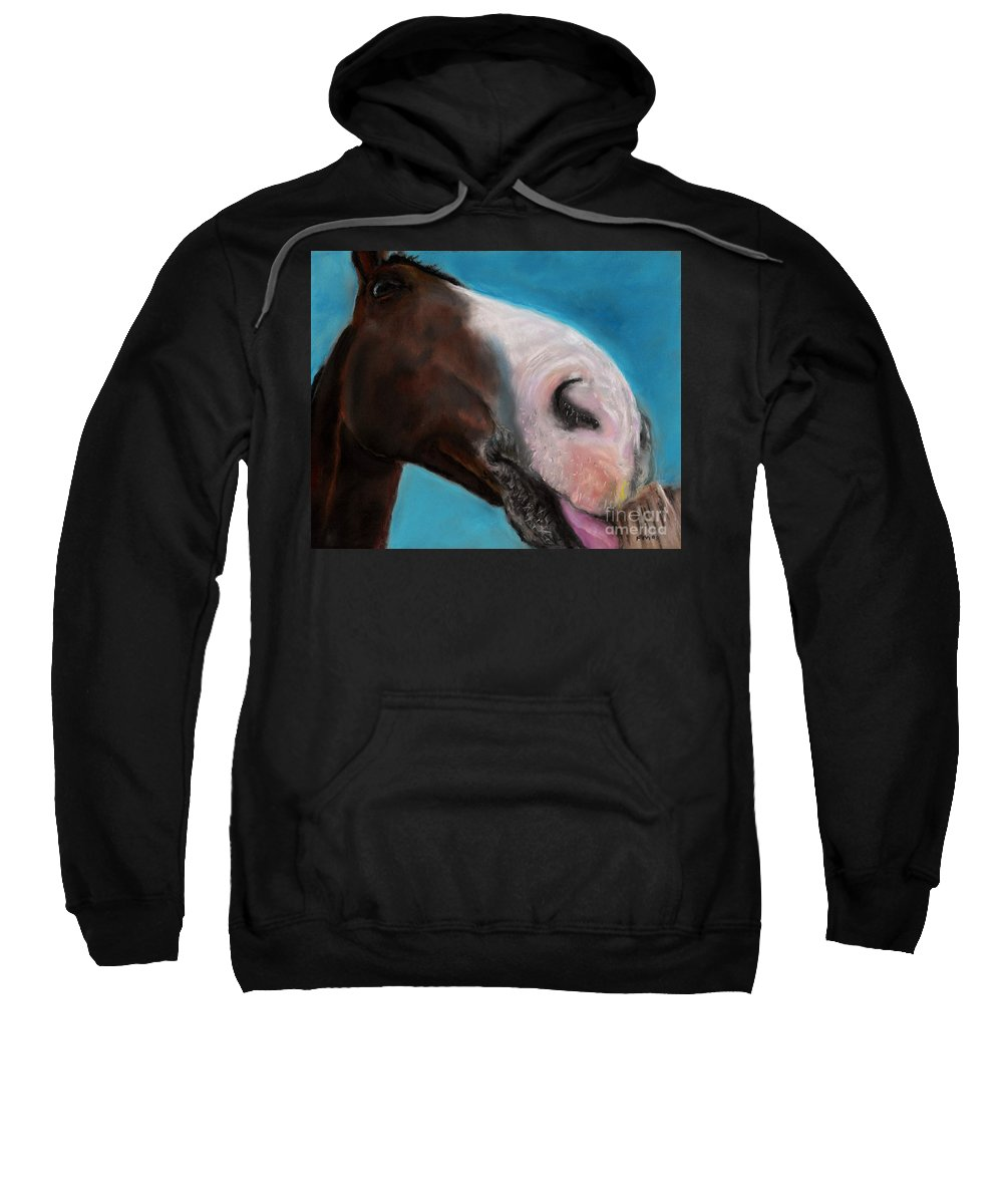 Abstract Horses Sweatshirt featuring the painting The Tasty Post by Frances Marino