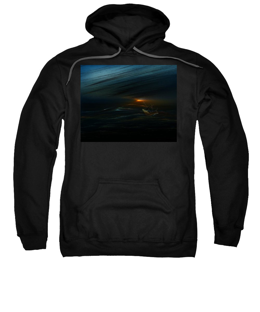 Digital Painting Sweatshirt featuring the digital art The Tempest Revisited by David Lane