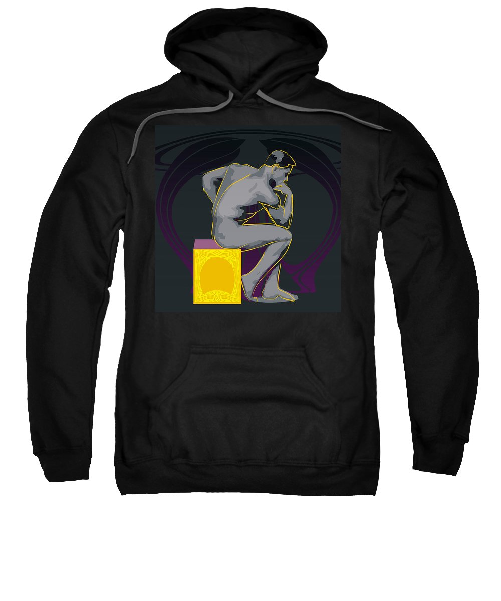 Men Naked Sweatshirt featuring the digital art The Thinker - El Pensador by Quim Abella