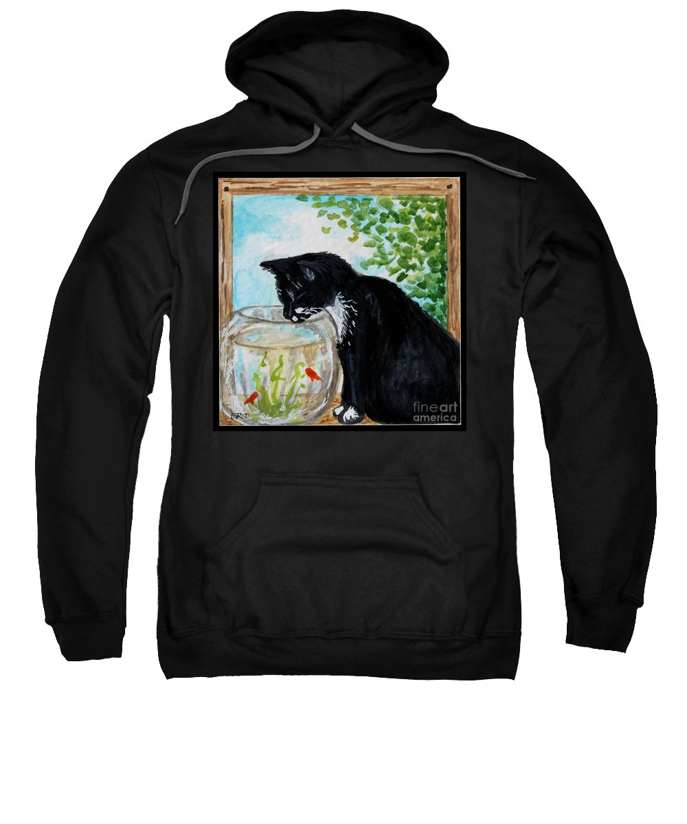 Cats Sweatshirt featuring the painting The Tuxedo Cat And The Fish Bowl by Elizabeth Robinette Tyndall