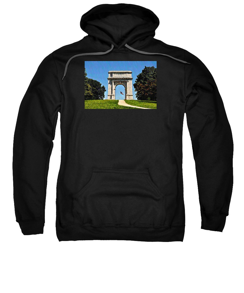 Valley Sweatshirt featuring the photograph The Valley Forge Arch by Bill Cannon