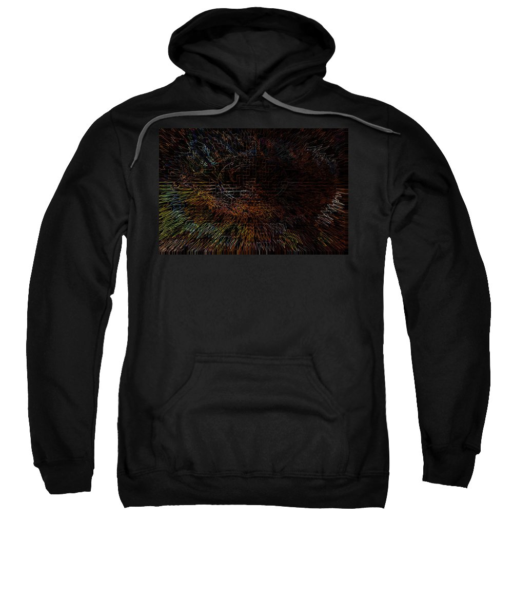 Eye Abstract Colors Rainbow Colours Weird Face Sweatshirt featuring the digital art The View by Andrea Lawrence