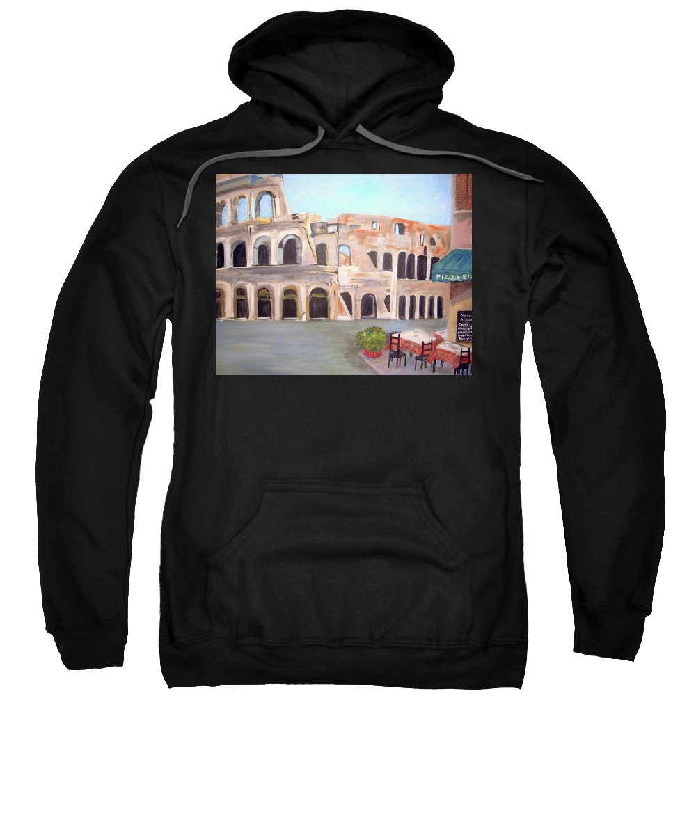 Cityscape Sweatshirt featuring the painting The View Of The Coliseum In Rome by Teresa Dominici